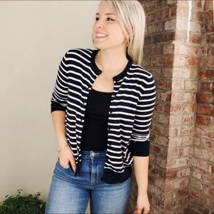 Navy and white Striped JCrew Cardigan Office Basic